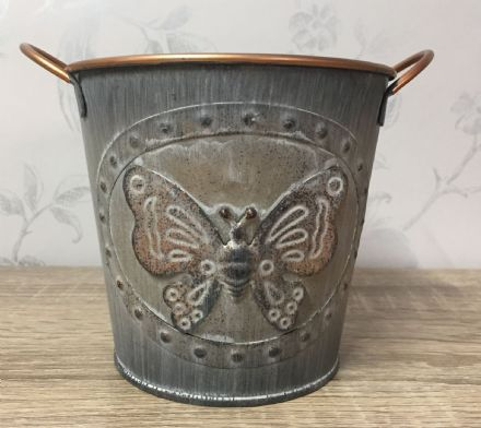 Vintage Butterfly Tin Planter 15 cm GREY